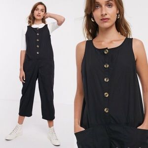ASOS Black Button Up Broiler Suit